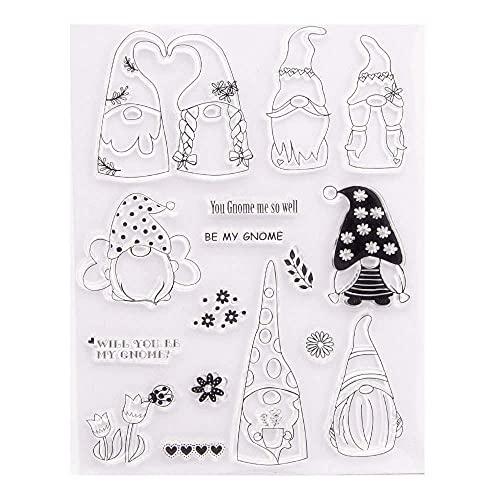 GIVBRO Sellos de silicona transparente sellos pegatinas de Navidad plantilla de relieve Santa Elf Stencil Mold Scrapbooking DIY Herramientas de manualidades