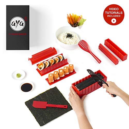 Sushi Making Kit - Original AYA Sushi Maker Deluxe - Online Video Tutorials Complete with Sushi Knife 11 Piece Sushi Set - Easy and Fun - Sushi Rolls