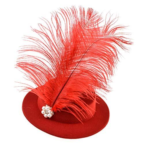 JERKKY haarspeld 1 stuk veerhoed voor dames haarspeld fascinator bruiloft pak party accessoires rood