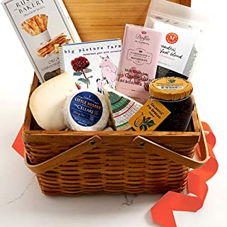 Martha Stewart Mother's Day Gift Basket - Hand Picked gourmet cheeses, crackers, fig spread, chocolate, caramels and Martha Stewart signature tea blend.