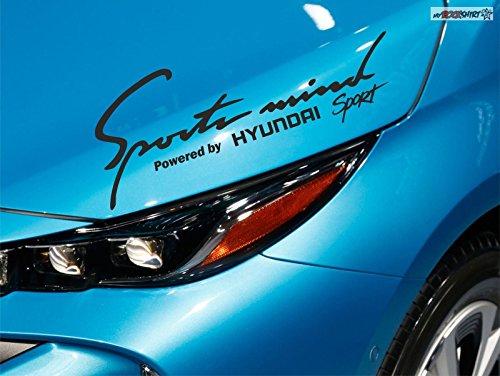 myrockshirt Hyundai Sonata i30 i40 ix55 Santafe Sport Logo Sports Mind Powered by für Lack,Scheibe, etc Aufkleber 30cm breite,Schwe