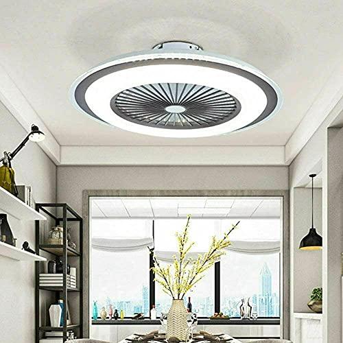 Ventilador de techo LED moderno Nordic con mando a distancia de 60 W, lámpara de techo moderna LED con iluminación ultra silenciosa, para dormitorio o salón (60 cm de diámetro), color marrón