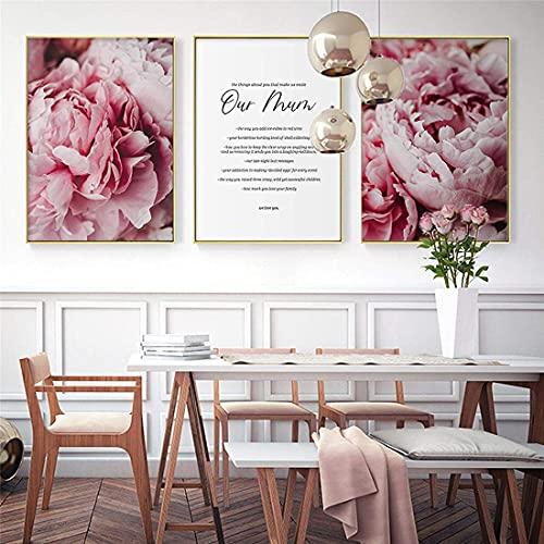 Eryan Impresión en lienzo Pintura floral Nordic Decor Pink Peony Flower Poster and Print Love Love Wall Art House Decor 50x75cm 20x30in x3 Sin marco