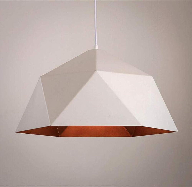 Retro Lichtcoffee Einzelkopf Geometrischer Deckel Kronleuchter Industrial Wind Iron Diamond, Wei, Durchmesser 25cm [Energieklasse A +]
