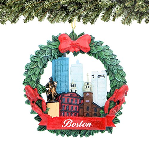 City-Souvenirs Boston Christmas Ornament Wreath with Skyline and Landmarks 3 Inches