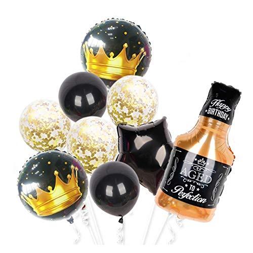 Djujiabh Globos 1SET 2021 Feliz AÑO Nuevo Foil Globos Copa de Cerveza Copa Black Oro Globo Globo Boda Decoraciones de Fiesta de cumpleaños (Color : 7)
