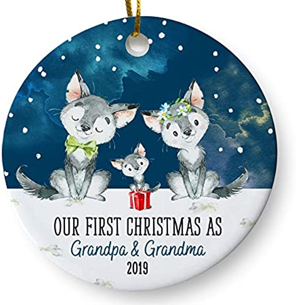 Our First Christmas As Grandpa And Grandma Ornament New Grandparents To Be Announcement Baby Reveal Pregnancy Keepsake 3 Inch Flat Ceramic Ornament With Gift Box