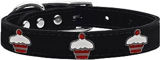 طوق من الجلد الطبيعي للكلاب بحليات الكب كيك باللون الأحمر من ميراج بت برودكتس 83-119 Bk20، مقاس 20، أسود