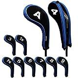 Andux - Juego de fundas con cremallera para palos de golf, 10 unidades por juego, cuello largo, con identificador grabado, disponibles en 5colores...