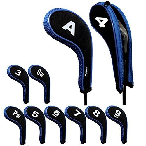 Andux - Juego de fundas con cremallera para palos de golf, 10 unidades por juego, cuello largo, con identificador grabado, disponibles en 5colores diferentes, negro y azul
