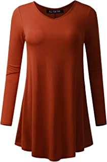 All for You Women's V-Neck 3/4 and Long Sleeve Flare Tunic Made in USA