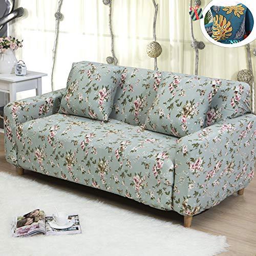 Treer Elastisch Sofa Sofabezug, Slipcover Sofa 1/2/3/4 Sitzer Überwürfe mit Armlehnen Polyester Stretch Weich Anti-Rutsch Sofaüberwurf + Gleicher Kissenbezug (3 Sitzer,Rose)