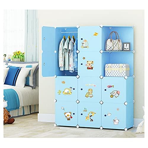 Armario portátil para armario portátil para niños, combinación, armario modular para ahorrar espacio, cubo organizador ideal para juguetes, toallas, libros (azul)