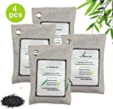 Muryobao Bamboo Charcoal Air Purifying Bags (4-Pack), Activated Charcoal Odor Absorber, Natural Freshener, Efficient Odor Eliminator for Home, Pets, Car, Closet, Office, Basement