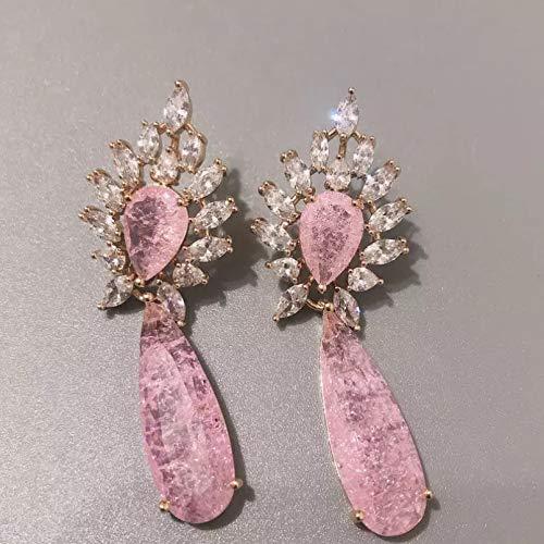BAJIE Pendientes de moda de oro rosa con circonita rota para boda, novia, boda, verano, pendientes de mujer