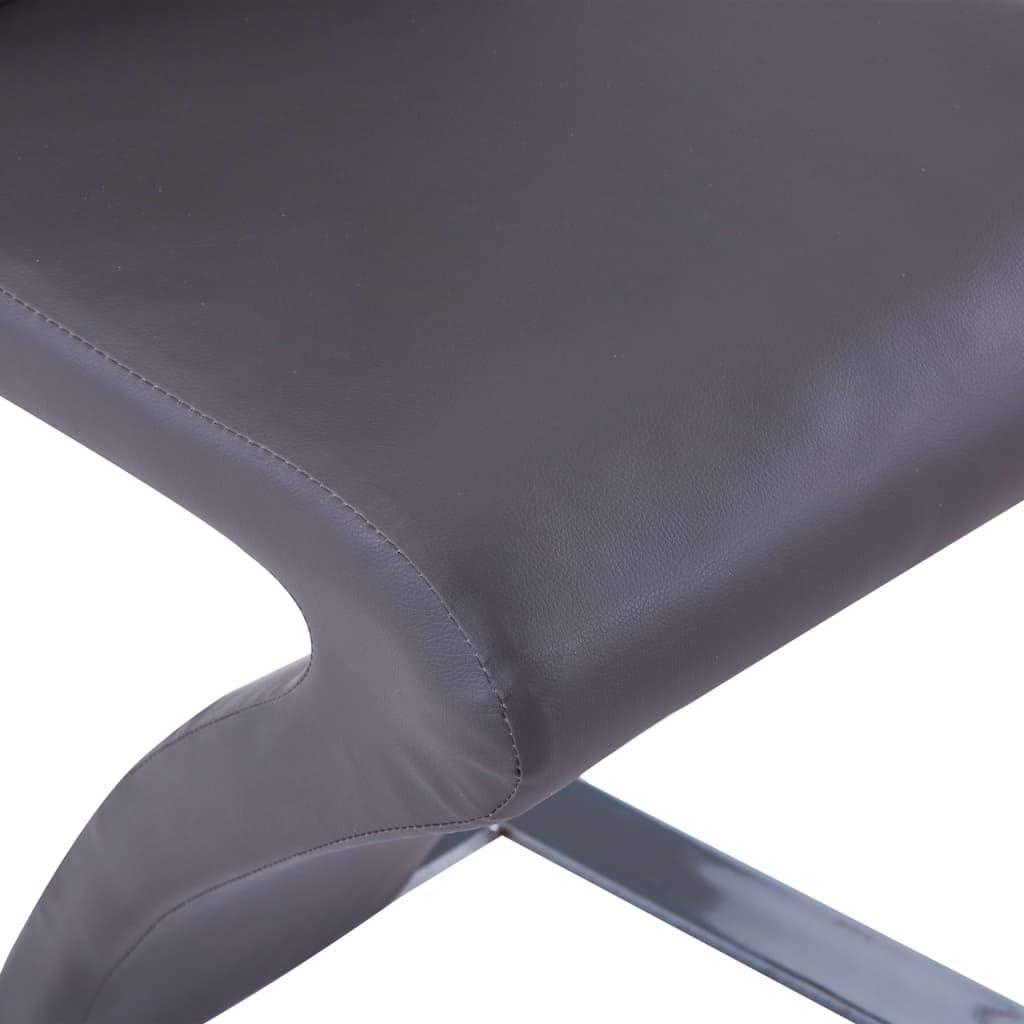 Tidyard Chaises à Dîner Design Unique avec Forme de Zigzag 2 Pcs Vert Similicuir Gris