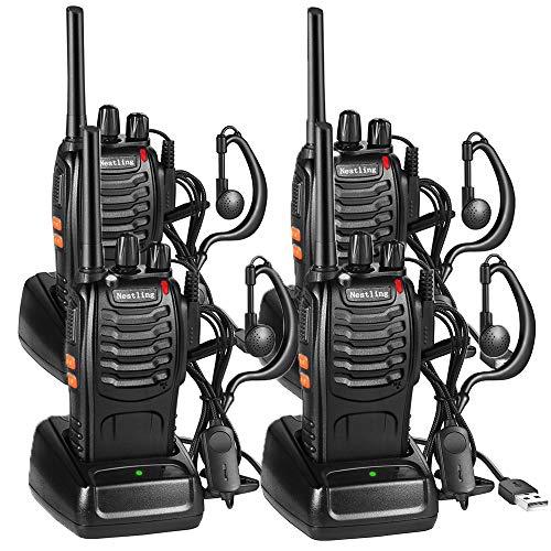 Nestling 4pz Walkie Talkie,Lunga Distanza 16 Canali Due-Via Radio - FM Ricetrasmettitore Handheld con LED Luce Auricolare ed Auricolari Originali