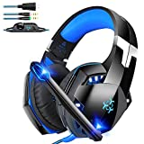Bovon Cuffie Gaming per PC, Cuffie Cancellazione Rumore con Microfono da 3,5 mm, Controllo in Linea & Luce a LED, Cuffie Over Ear con Basso …