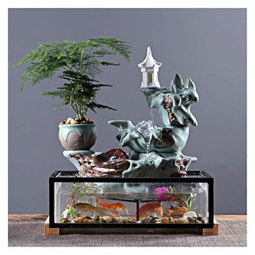 Fuente de Interior Moderno Minimalista Minimalista Fuente de Agua Atomizador Objeto Piso Fish Tank Paisaje Oficina Sala de Estar Accesorios Cascada de Fuente de Escritorio (Color : A)