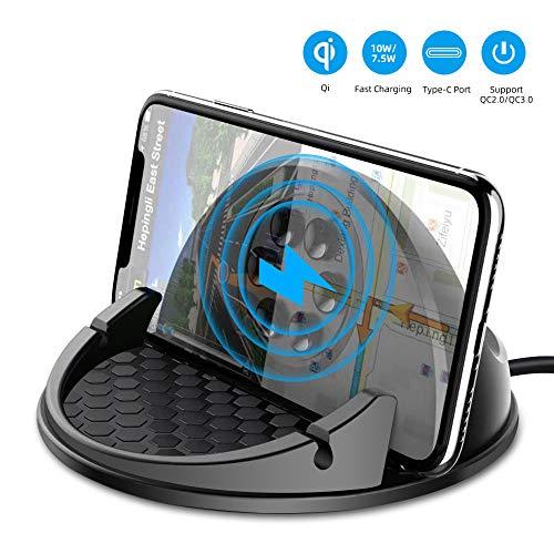 Beeasy Wireless Charger Auto,10W/7.5W Qi Induktive Ladestation Fast Charge Handyhalter fürs Auto kfz Kabelloses Ladegerät Kompatibel mit Smartphone iPhone 11 Pro XS Max XR X 8 Plus,Samsung S10+