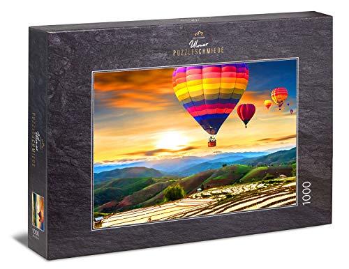 Ulmer Puzzleschmiede - Puzzle 'Nel cielo sopra la Thailandia' - Motivo puzzle esotico, volo in mongolfiera sulle montagne della Thailandia, Asia