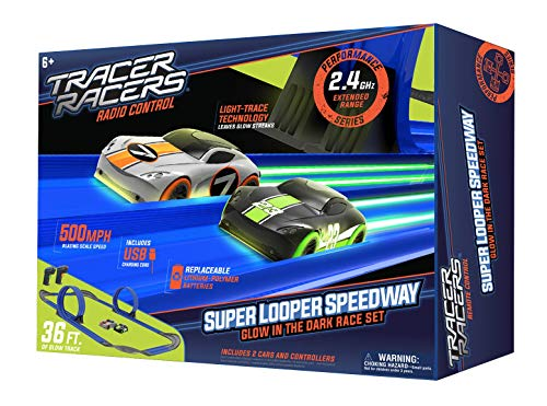 Tracer Racers Second Generation 2.4 GHz R/C High-Speed Radio Control Super Loop Speedway Glow Track Set