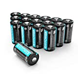 CR123A 3V Lithium Battery RAVPower Non-Rechargeable Lithium Batteries [16 Pack 1500mAh Each] 10 Years of Shelf Life for Arlo Cameras Polaroid Flashlight Microphones [CAN NOT BE RECHARGED]