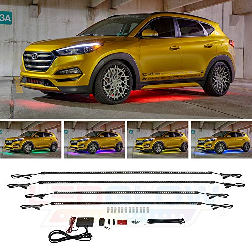LEDGlow 4pc Multi-Color Slimline LED Underbody Underglow Accent Neon Lighting Kit for Cars - 10 Solid Colors - 13 Unique Patterns - Music Mode - Water Resistant Tubes - Includes Control Box & Remote