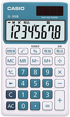 カシオ 電卓 手帳タイプ 8桁 SL-300B-BU-N レイクブルー
