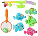 Liberty Imports Magnetic Light Up Fishing Bath Toy Set for Kids - Rod and Reel with Sea Turtle and 5...