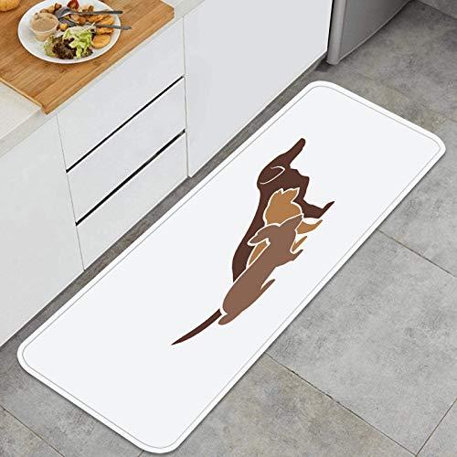 Blived Alfombra de Cocina Antideslizante,Mascotas Siluetas Perro Gato Conejo Logo,Estera de Cocina Felpudos Decorativo Alfombra para Dormitorio Baño Pasillo 45 x 120cm