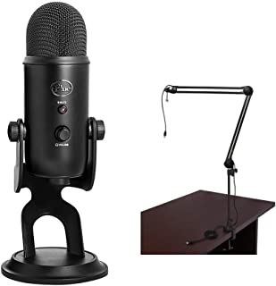 Blue Yeti USB Microphone (Blackout) with BAI-2U Two-Section Broadcast Arm plus Internal Springs & USB Cable Bundle