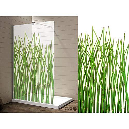 Interfoil Dekor Duschkabine Bambus, Sichtschutz Duschabtrennung, hochwertiger Druck auf Glasdekor -Folie in Sandstrahl -Optik mit satinierten Oberfläche