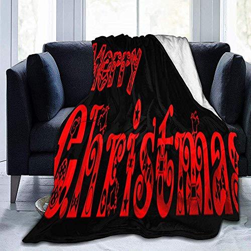 Annays Blanket Feliz Navidad Texto PNG Manta Manta Ultra Suave Manta De Cama Ligera Edredón Decoración para El Hogar Duradera Manta De Lana Manta De Sofá 127x153CM