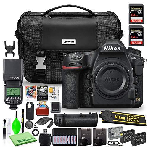 Nikon D850 DSLR Digital Camera Body Only (1585) USA Model Bundle with (2) SanDisk 64GB Extreme PRO SD Cards + Nikon MB-D18 Grip + Godox V350N TTL Flash + Editing Software + Nikon Camera Bag + More