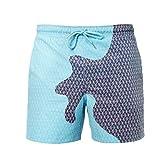 YNNhjj Costume da Bagno da Uomo Che Cambia Colore Magico - Pantaloni da Spiaggia sensibili Che cambiano Colore (Strisce Blu, M)