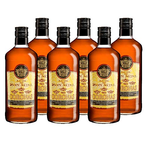 Licor de Ron Miel 3 coronas de 70 cl - D.O.Islas Canarias - Bodegas Grupo Estevez (Pack de 6 botellas)