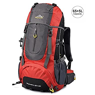 Vbiger Hiking Backpack Water Resistant Daypack 65+5L for Camping, Trekking and Mountain Climbing (Red, 65L)