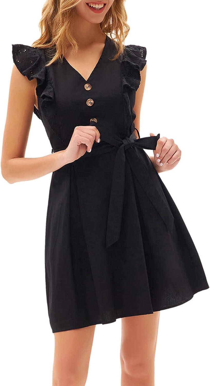 GRACE KARIN Women's Casual Summer Ruffle Cap Sleeve Cotton Dress V-Neck Button Tie Wait A-Line Midi Dress