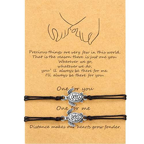 2 pulseras de amistad a juego para regalo a mejor amigo o a tu pareja Negro