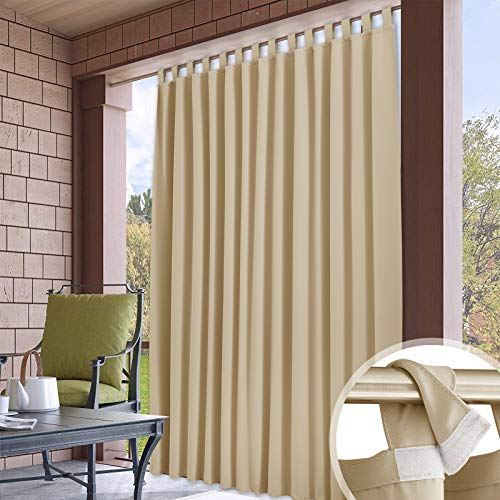 RYB HOME Waterproof Outdoor Curtains - Detachable Top Large Curtains Blackout Privacy Screen for Patio Porch Sliding Glass Door Corridor Porch Terrace, 100 Wide x 120 in Long, 1 Pc, Beige