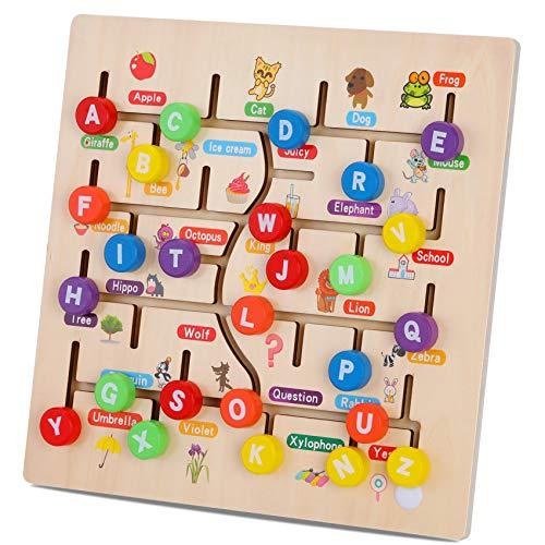 Bloques de Madera del Alfabeto Tablero del Laberinto, 26 Letras Juegos de combinación Juguetes de Aprendizaje Actividad educativa motriz temprana con Lindas Ilustraciones para Regalos de niños