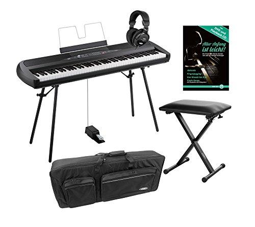 Korg SP-280 BK Portable Piano Set (Digitalpiano mit 88 Tasten, Pedal & Ständer im Starterset inkl. Pianobank, Kopfhörer, Tasche & Klavierschule) Schwarz
