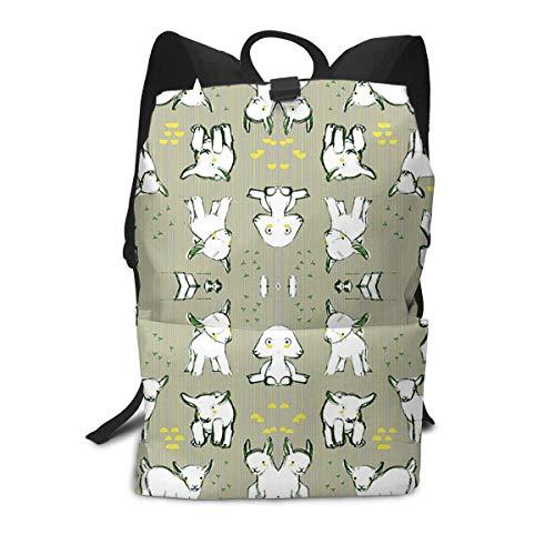 PhqonGoodThing Rucksack für Hunde, Dackel, große Kapazität, für Reisen, Wandern, Tagesrucksack, Schule, Büchertasche, Fitnessstudio, Outdoor, Wandern, Laptop, Büchertasche Baby Goats in Grey Einheitsgröße