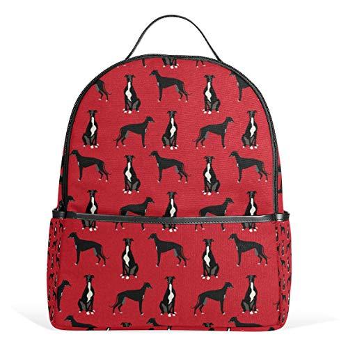 Greyhound Black Pet Steppdecke für Kinderzimmer, Hundedecke, Rucksack, Rucksack, Schultertasche, Tagesrucksack, Teenager, Reisetasche für Reisen