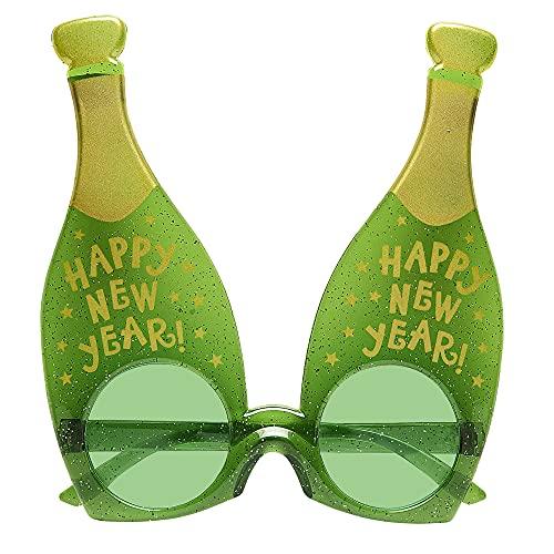 Widmann- Occhiali a Forma di Bottiglia Champagne per Adulti, Verde, 0348P