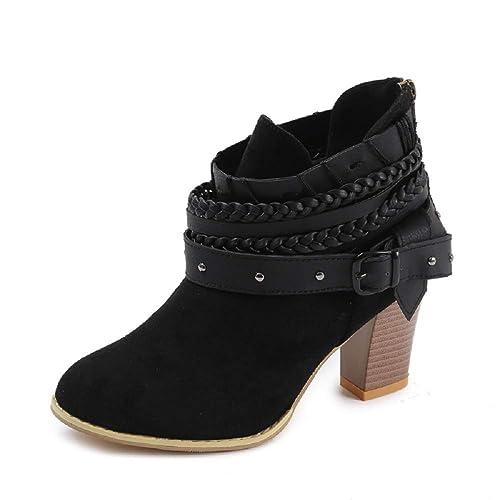 Zapatillas Bota Negra Mujer: Amazon.es