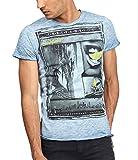 trueprodigy Casual Marca Camiseta para Hombre con impresión Estampada Ropa Retro Vintage Rock Vestir Moda Cuello Redondo Manga Corta Slim fit Designer Fashion t-Shirt, Colores:Ombreblue, Tamaño:M