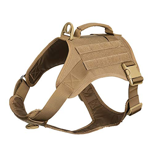 EXCELLENT ELITE SPANKER Tactical Dog Harness Vest Military K9 Working Dog Harness No-Pull Pet Harness Adjustable Training Vest with Easy Control Handle (L, Coyote Brown)