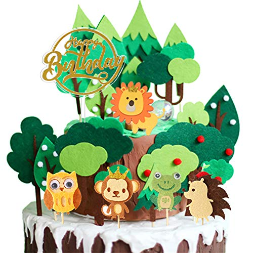 18Pcs Animal Cake Topper Jungle Safari Theme Cupcake Topper Cake Decorations for Kids Birthday Baby Showr Party Supplies